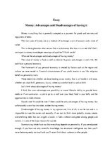 Eseja 'Money: Advantages and Disadvantages of having it', 1.