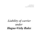 Referāts 'Liability of carrier under Hague-Visby Rules