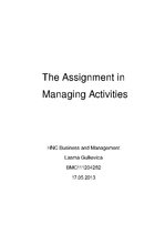 Referāts 'The Assignment in  Managing Activities', 1.