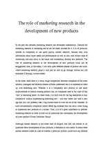 Referāts 'The Role of Marketing Research in the Development of Products', 1.