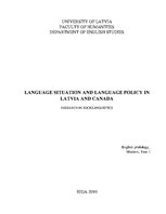 Referāts 'Language Situation and Language Policy in Latvia and Canada', 1.