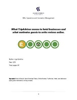 Referāts 'What TripAdvisor Means to Hotel Businesses and what Motivates Guests to Write Re', 1.
