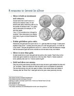 Konspekts 'Eight Reasons to Invest in Silver', 1.