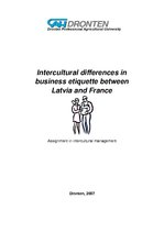 Referāts 'Intercultural differences in business etiquette between Latvia and France', 1.